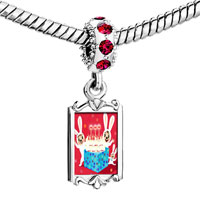 Charms Beads - red crystal dangle happy birthday Image.