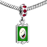 Charms Beads - red crystal dangle laughing face Image.