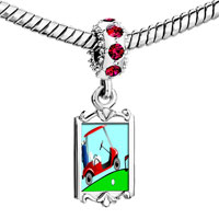 Charms Beads - red crystal dangle golf trolley Image.