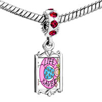 Charms Beads - red crystal dangle life saver Image.