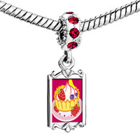 Charms Beads - red crystal dangle icecream Image.