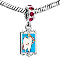 Charms Beads - red crystal dangle tooth brush Image.