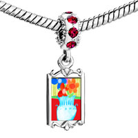 Charms Beads - red crystal dangle vase Image.