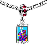 Charms Beads - red crystal dangle gift box Image.