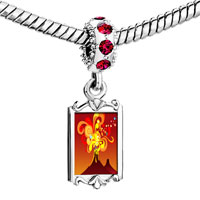 Charms Beads - red crystal dangle volcanic explosion Image.