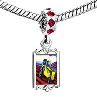 Charms Beads - red crystal dangle tractor Image.