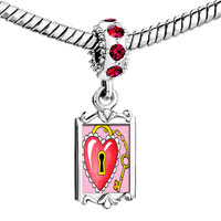 Charms Beads - red crystal dangle heart lock Image.