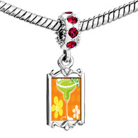 Charms Beads - red crystal dangle drink flowers Image.