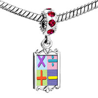 Charms Beads - red crystal dangle add subtract multiply divide sign Image.