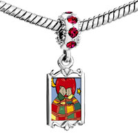 Charms Beads - red crystal dangle cute husb wife bears Image.