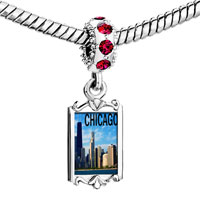 Charms Beads - red crystal dangle chicago Image.