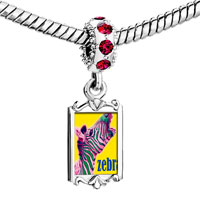 Charms Beads - red crystal dangle zebra Image.