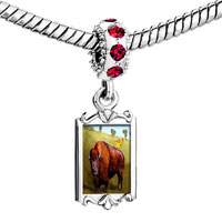Charms Beads - red crystal dangle buffalo bird Image.