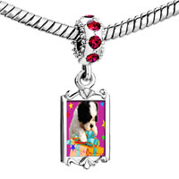 Charms Beads - red crystal dangle poodle present Image.