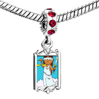 Charms Beads - red crystal dangle blind justice Image.