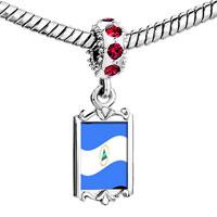 Charms Beads - red crystal dangle nicaragua flag Image.