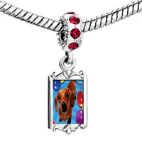 Charms Beads - red crystal dangle balloon a puppy Image.