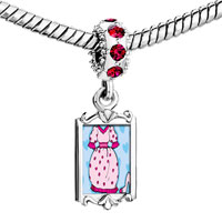 Charms Beads - red crystal dangle dress shoe Image.