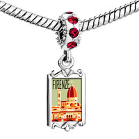 Charms Beads - red crystal dangle firenze Image.