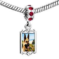 Charms Beads - red crystal dangle dog Image.