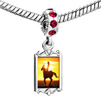 Charms Beads - red crystal dangle riding f into the sunset Image.
