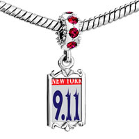 Charms Beads - red crystal dangle new york Image.