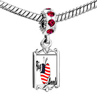 Charms Beads - red crystal dangle american flag printed on apple Image.