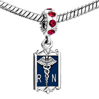 Charms Beads - garnet red crystal dangle registered nurse rn caduceus charm Image.