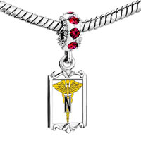 Charms Beads - red crystal dangle yellow wings logo Image.