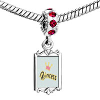 Charms Beads - red crystal dangle crown &  princess Image.
