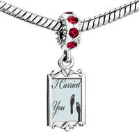 Charms Beads - red crystal dangle i carried you footprints Image.