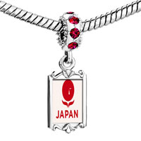 Charms Beads - red crystal dangle pray for japan Image.