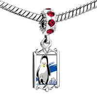 Charms Beads - red crystal dangle cute penguins mother looking at baby Image.