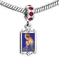 Charms Beads - red crystal dangle mother' s day mother holding baby Image.