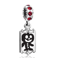 Charms Beads - red crystal dangle black jack o lantern halloween pumpkin man Image.