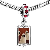 Charms Beads - red crystal dangle white cute ghost Image.