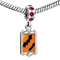 Charms Beads - red crystal dangle orange black bat Image.
