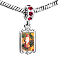 Charms Beads - red crystal dangle santa tree ornament Image.