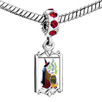 Charms Beads - red crystal dangle witch refining poison Image.