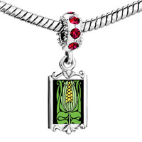 Charms Beads - red crystal dangle green leaf nice yellow corn Image.
