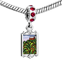 Charms Beads - red crystal dangle green farm cabin Image.