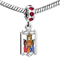 Charms Beads - red crystal dangle couple waiting for the new year Image.