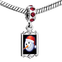 Charms Beads - red crystal dangle snowman wearing xmas hat Image.