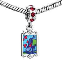 Charms Beads - red crystal dangle green mailbox sent love heart Image.