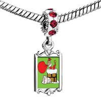 Charms Beads - red crystal dangle xmas santa into chimney carrying gifts Image.