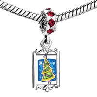 Charms Beads - red crystal dangle blue snow green xmas tree Image.