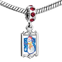 Charms Beads - red crystal dangle lovely xmas snowman Image.