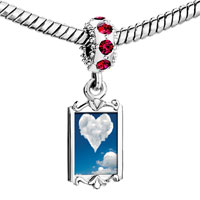 Charms Beads - red crystal dangle white clouds heart in the blue sky Image.