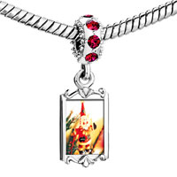 Charms Beads - red crystal dangle santa claus ornament Image.
