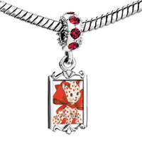 Charms Beads - red crystal dangle cute heart cat wearing bow Image.